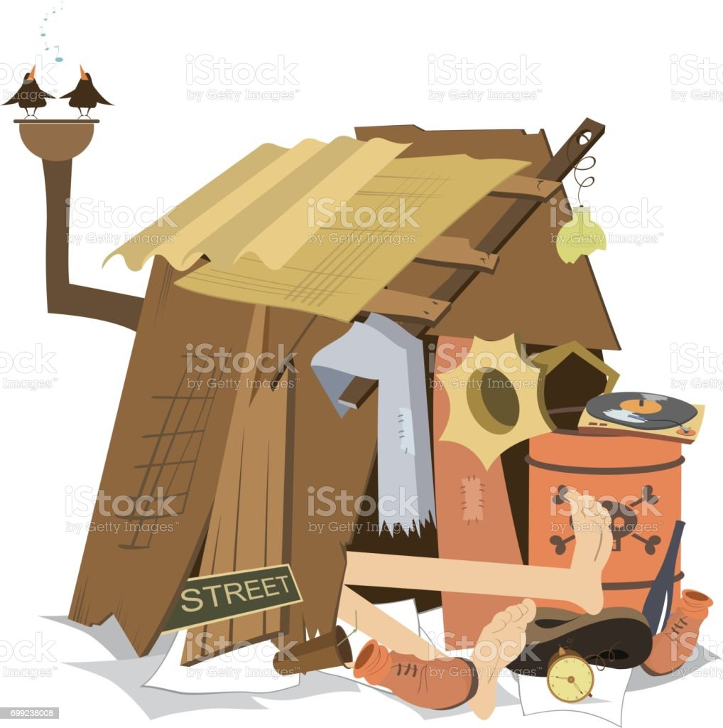 Hut of the beggar isolated vector art illustration