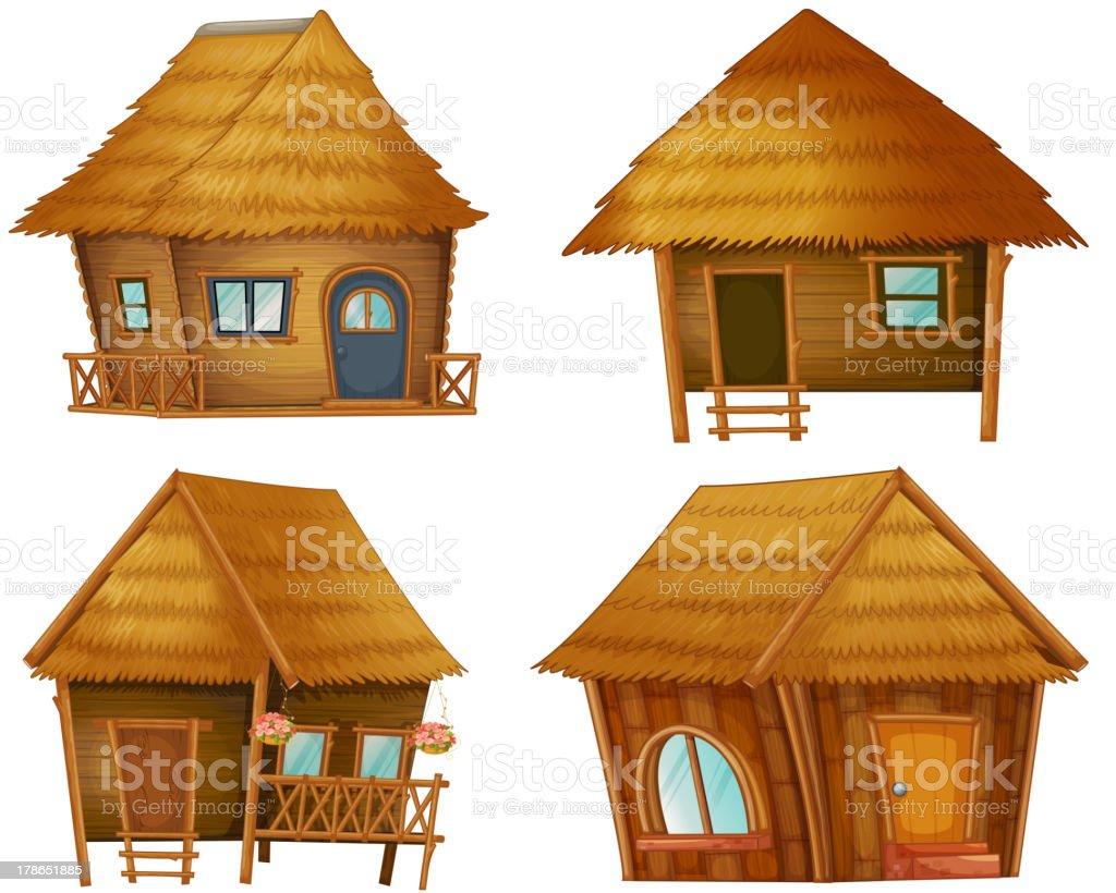 Hut series vector art illustration