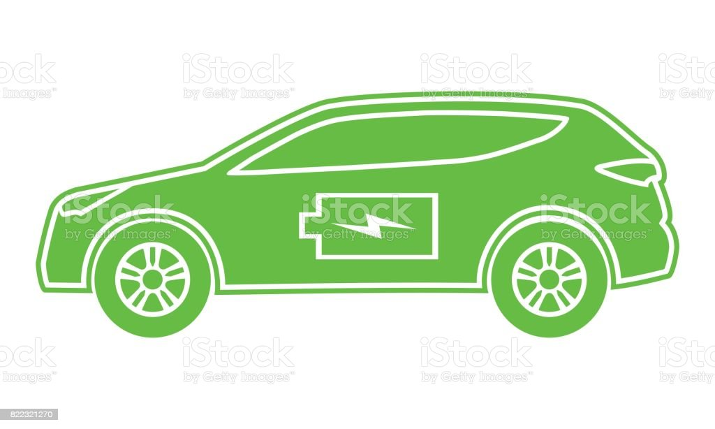 Hybrid car green icon. Electric powered environmental vehicle side view. Contour automobile with battery sign. vector art illustration
