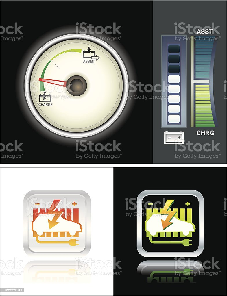 Hybrid Car Icons & Dashboard Dial royalty-free stock vector art