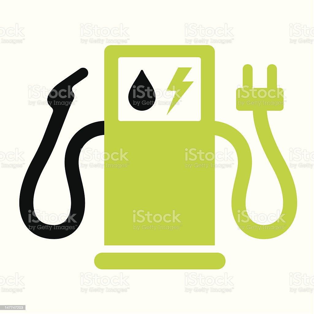 Hybrid or electric fuel pump vector art illustration
