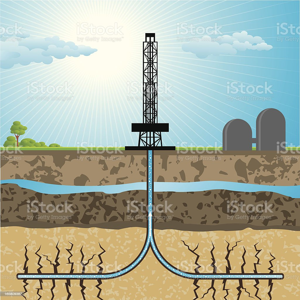 Hydraulic fracturing gas drilling illustration royalty-free stock vector art