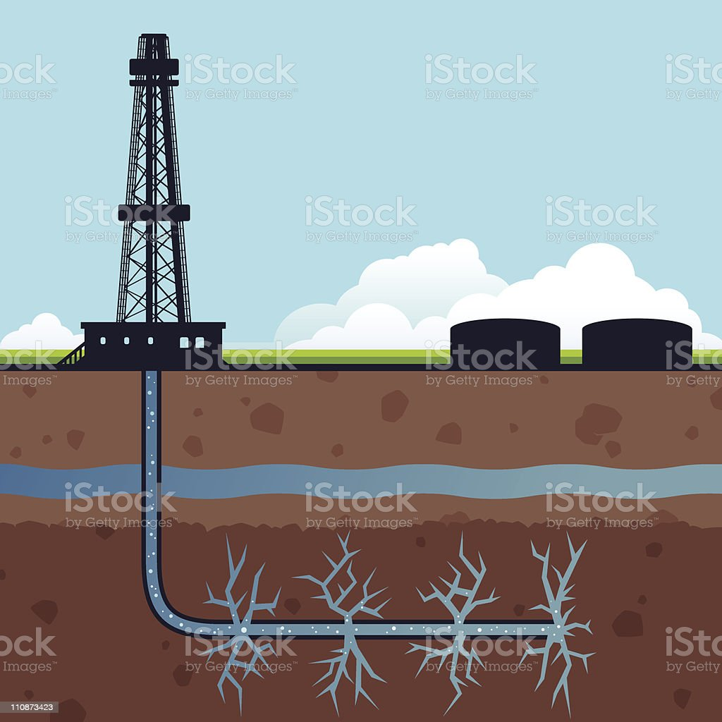 Hydraulic Fracturing Gas Drilling vector art illustration