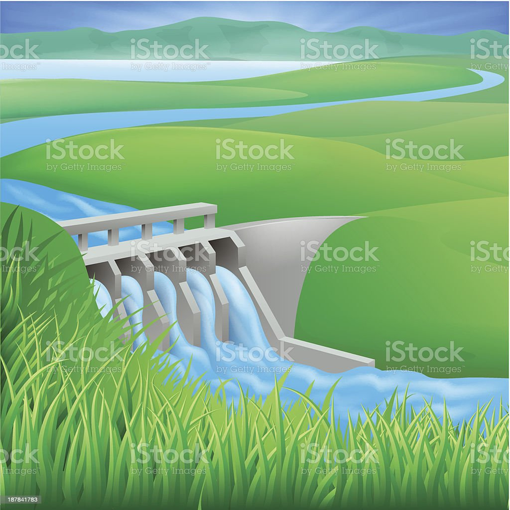Hydro dam water power energy illustration royalty-free stock vector art