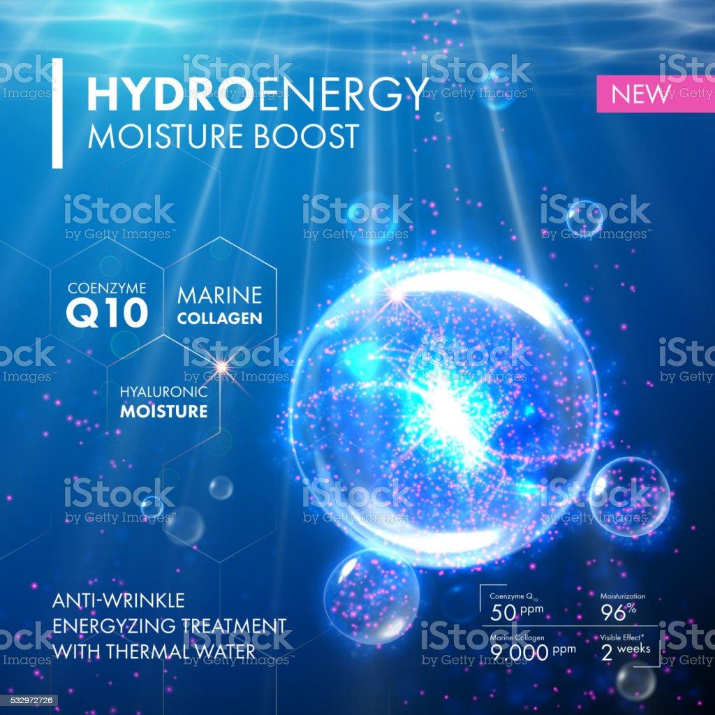 Hydro Energy Coenzyme Q10 moisture molecula bubble drop vector art illustration
