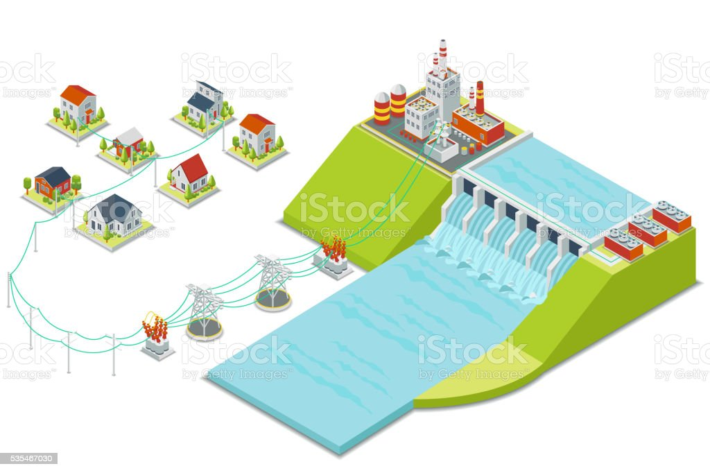 Hydro power plant. 3D isometric electricity concept vector art illustration