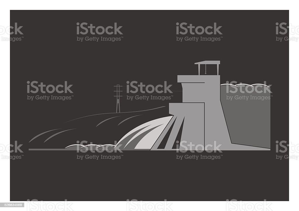 Hydroelectric power plant vector art illustration