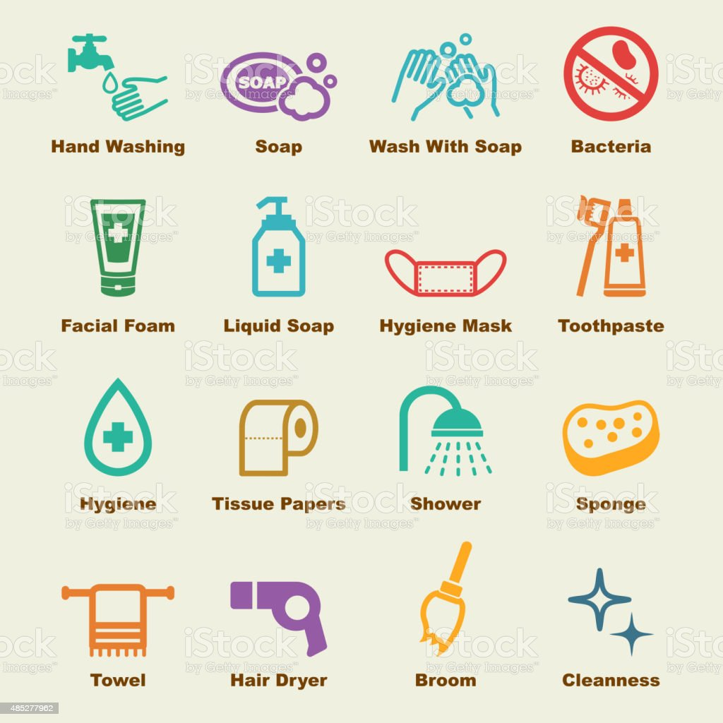 hygiene elements vector art illustration
