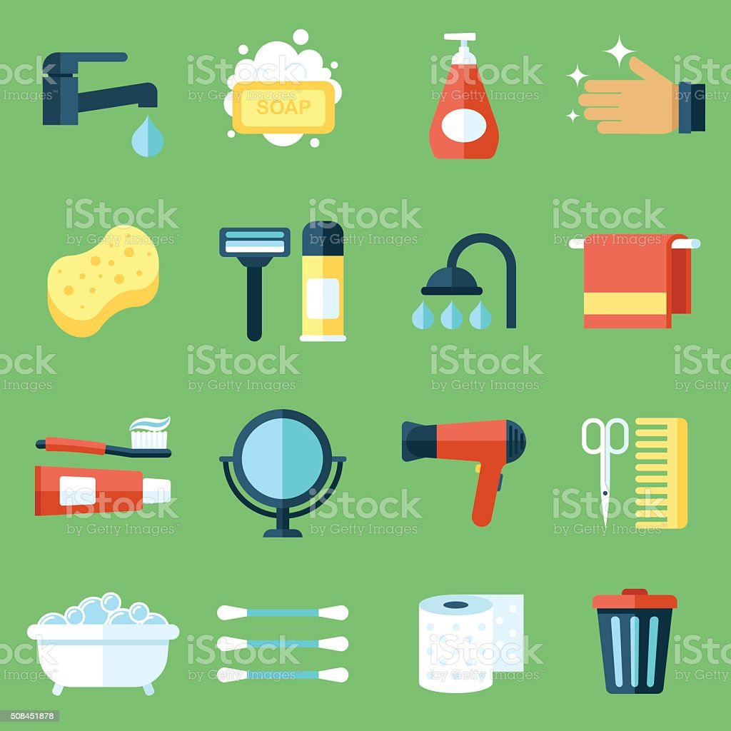 Hygiene icons vector art illustration