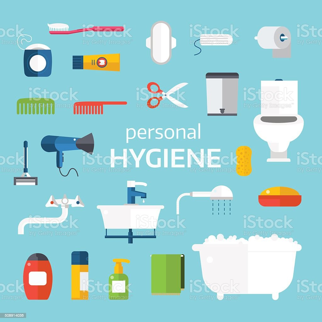 Hygiene icons vector set isolated on white background vector art illustration