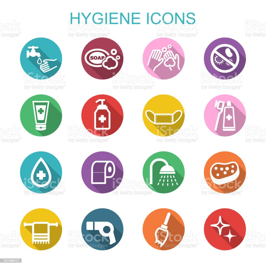hygiene long shadow icons vector art illustration