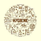hygiene minimal thin line icons set