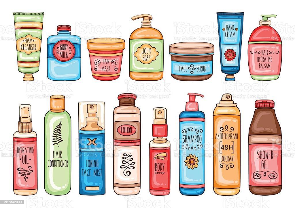 Hygiene set of bathroom cosmetic bottles and tools vector art illustration