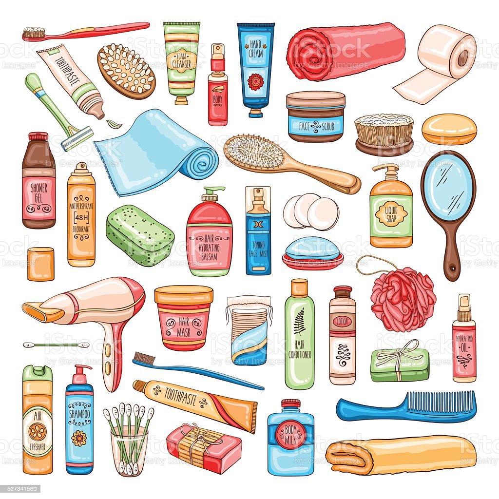 Hygiene set of bathroom equipment, cosmetics and tools vector art illustration