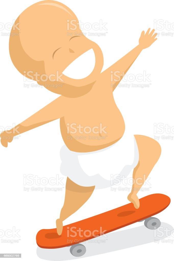 Hyperactive baby jumping on skate vector art illustration