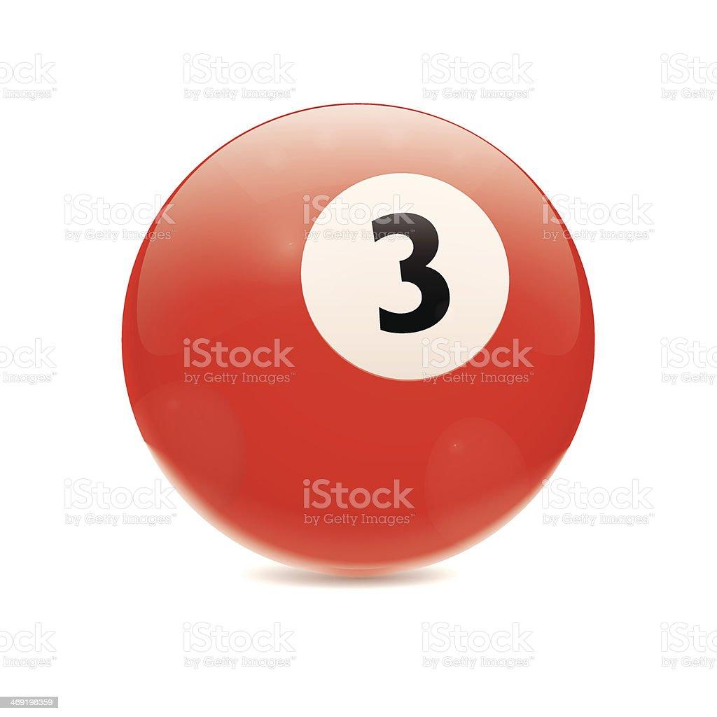 Hyperrealistic Billiard Ball Number 3 royalty-free stock vector art