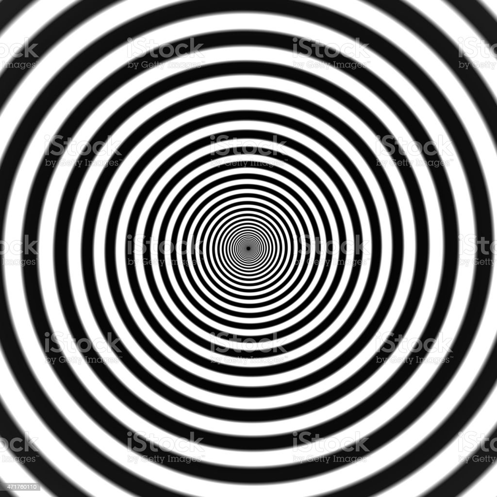 A hypnotic black and white spiral vector art illustration