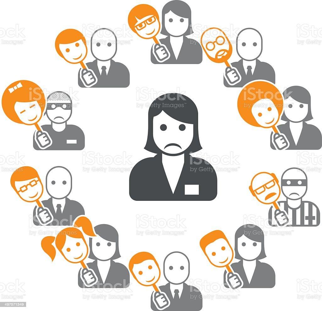 Hypocrisy - dissimulation in internet and social networks vector art illustration