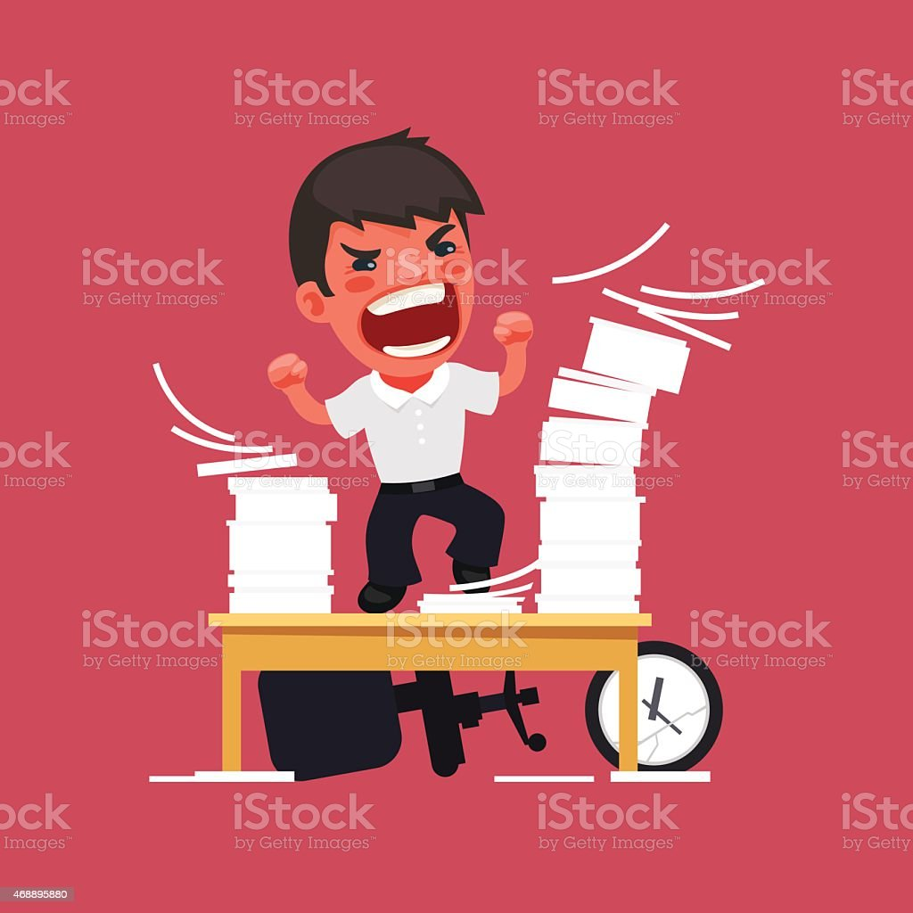 Hysterical Angry Manager Working at the Office vector art illustration