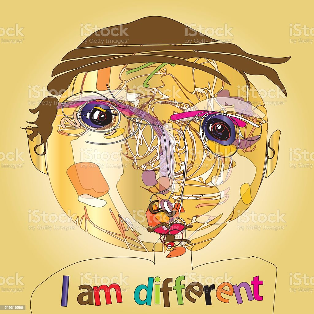 i am different vector art illustration