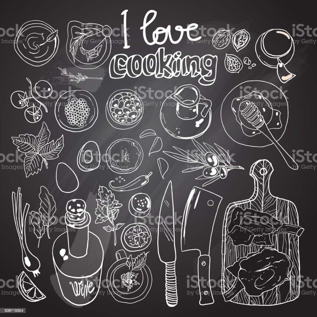 i love cooking vector art illustration