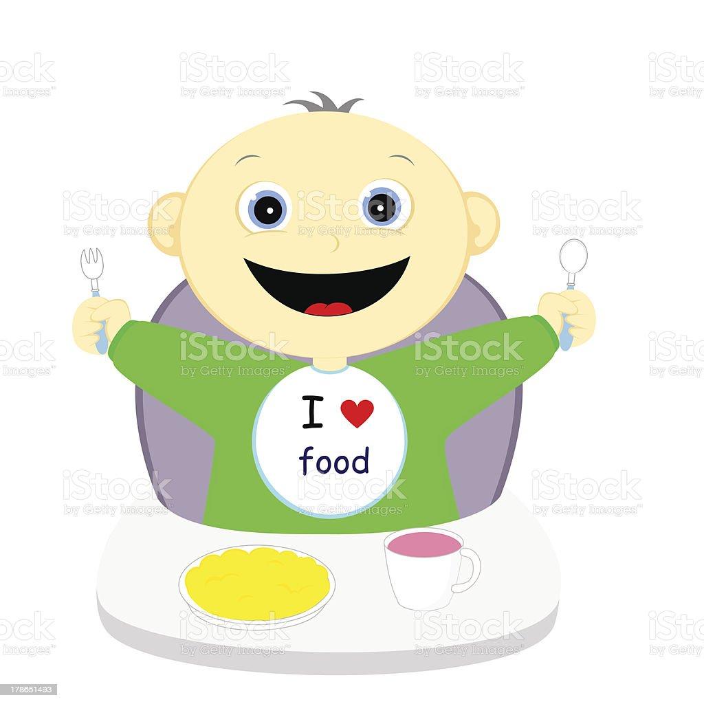 i love food vector art illustration