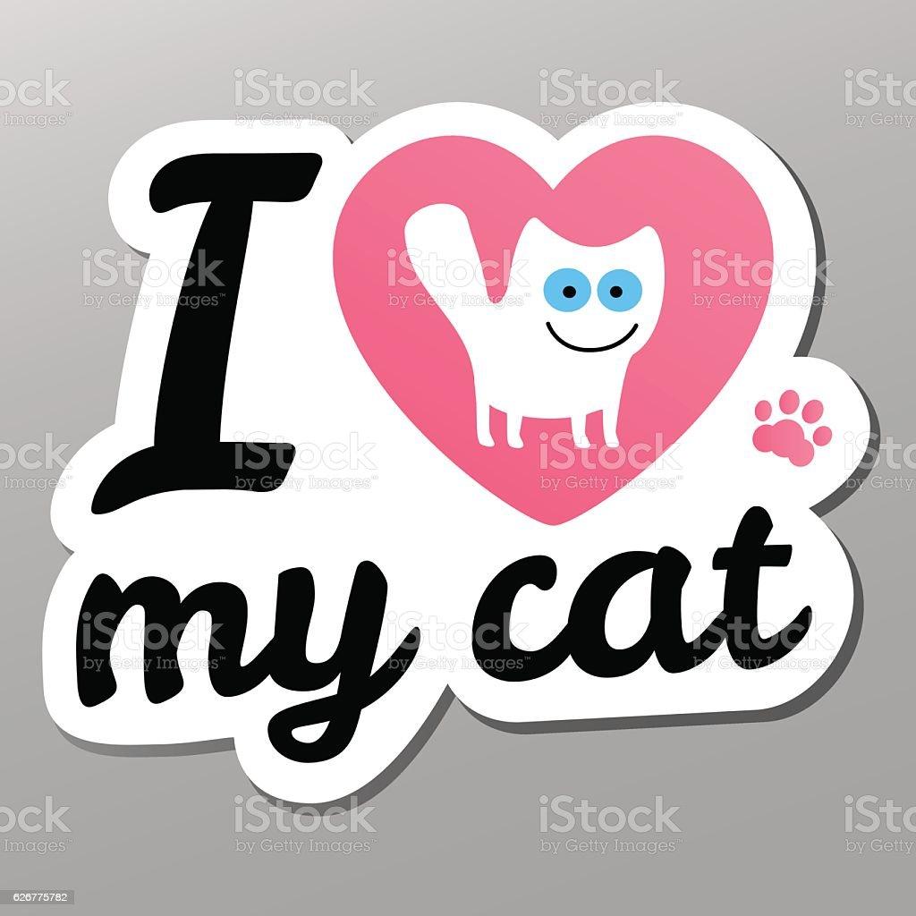 i love may cat vector art illustration