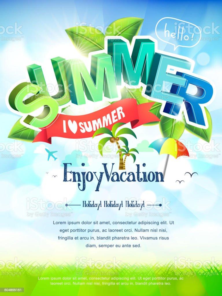 i love summer poster vector art illustration