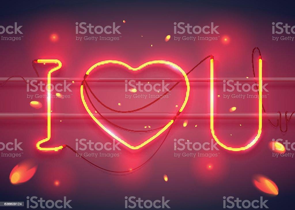 i love you neon2-02 vector art illustration