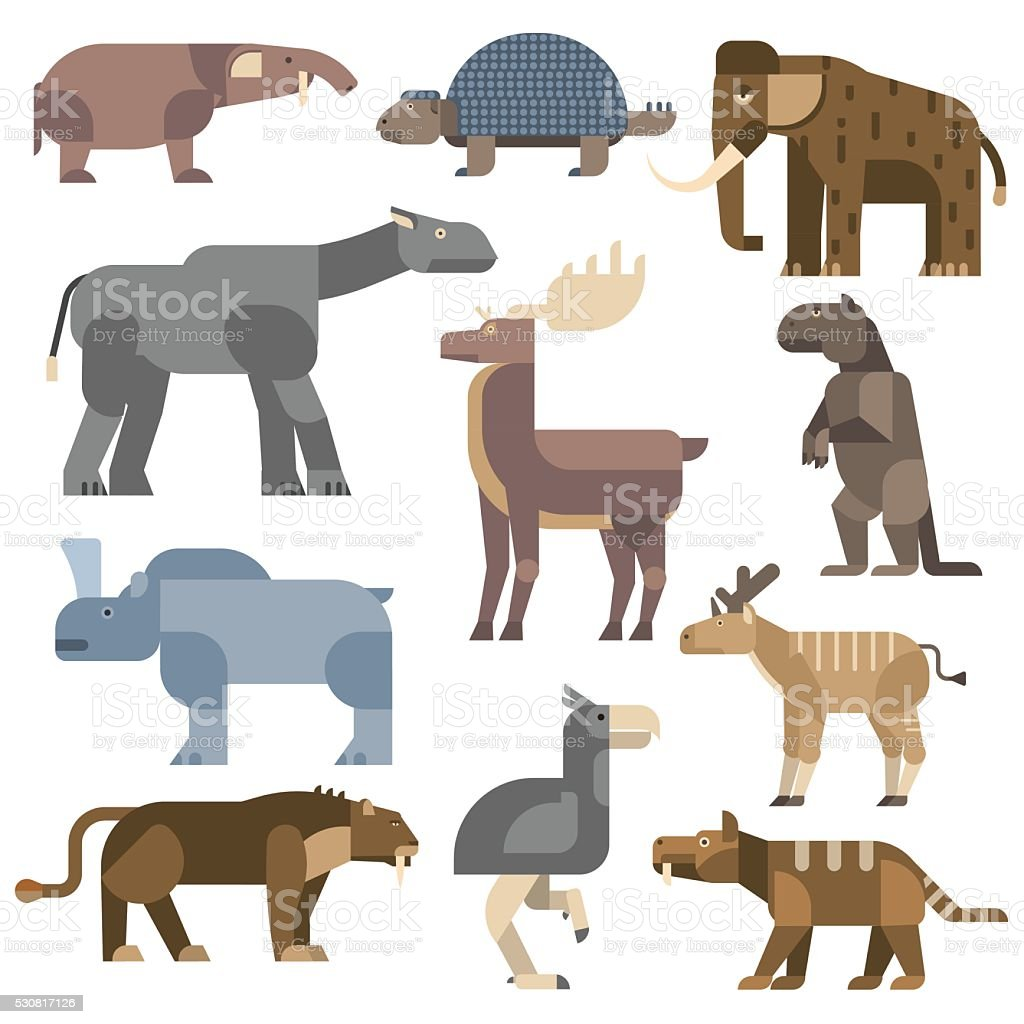Ice age animals vector illustration vector art illustration