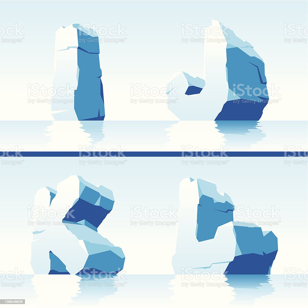 Ice alphabet. Part 3 vector art illustration