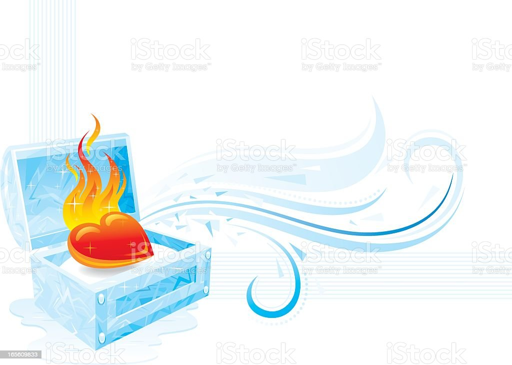 Ice and fire heart banner vector art illustration