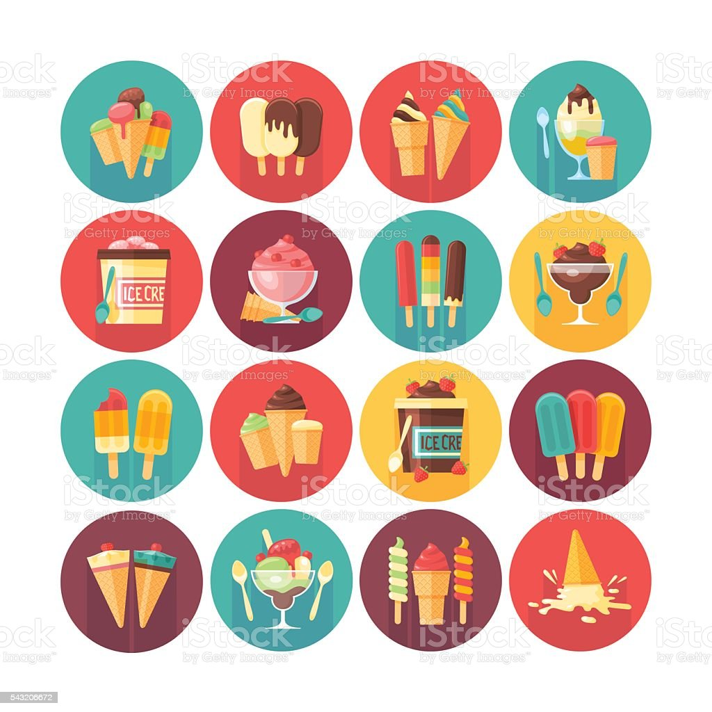 Ice cream and frozen desserts and sweets icon collection. vector art illustration