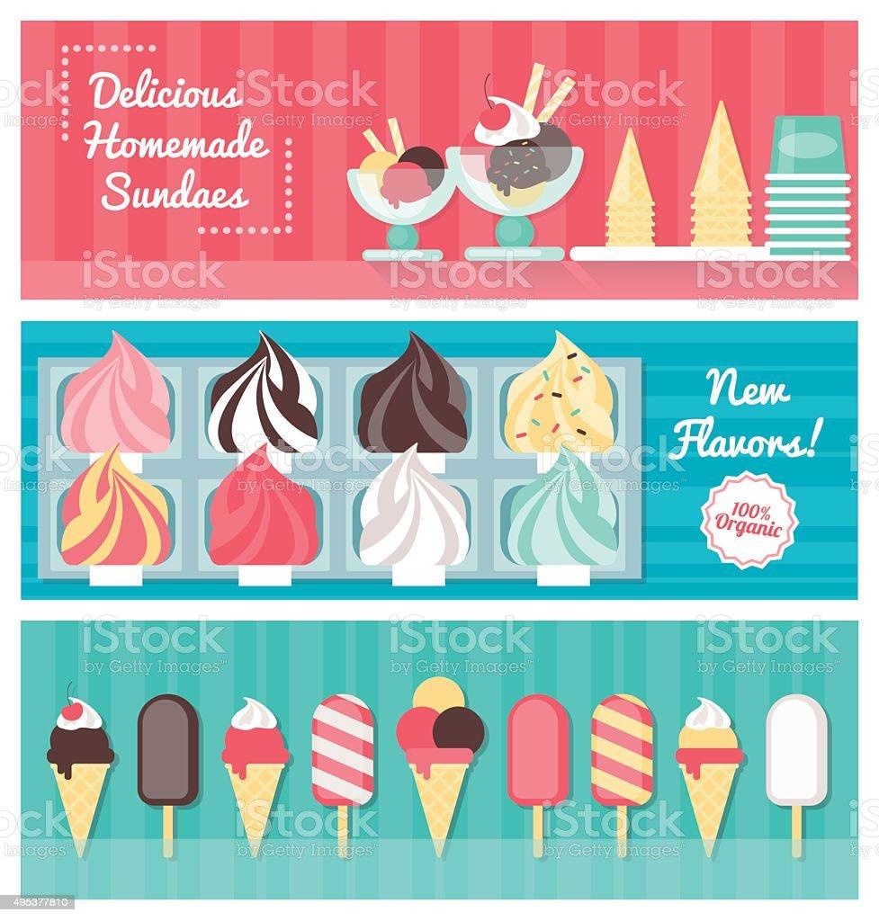 Ice cream banner set vector art illustration
