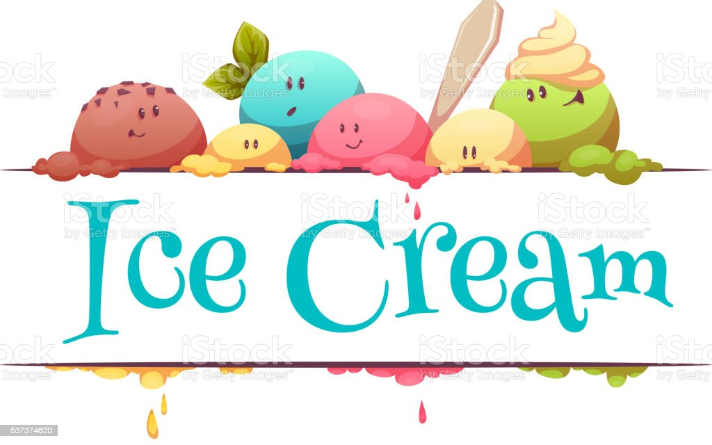 Ice cream banner with color drops. Vector illustration vector art illustration