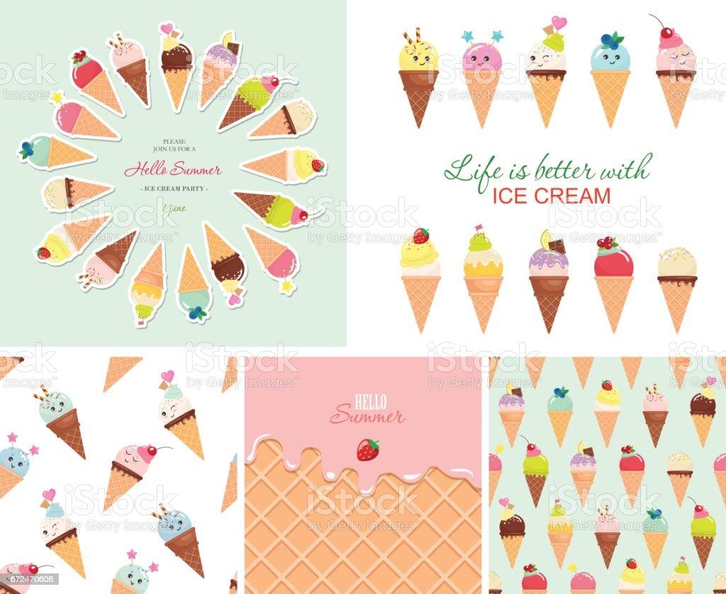 Ice cream big set. Seamless patterns, templates, stickers. Hello summer design. vector art illustration