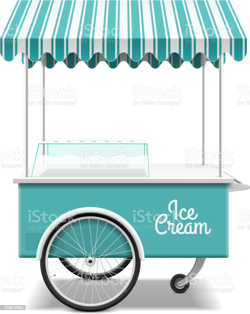 Ice cream cart vector art illustration