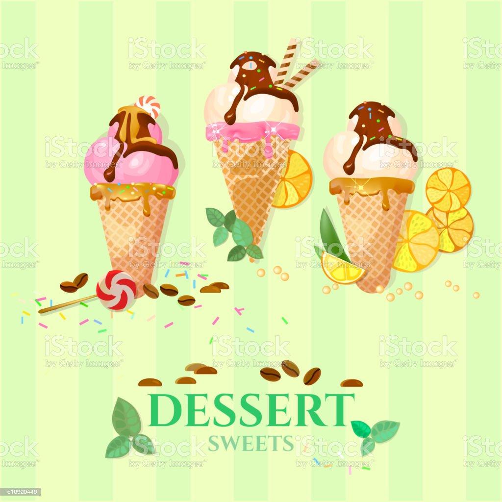 Ice cream chocolate vanilla and strawberry ice cream balls vector art illustration