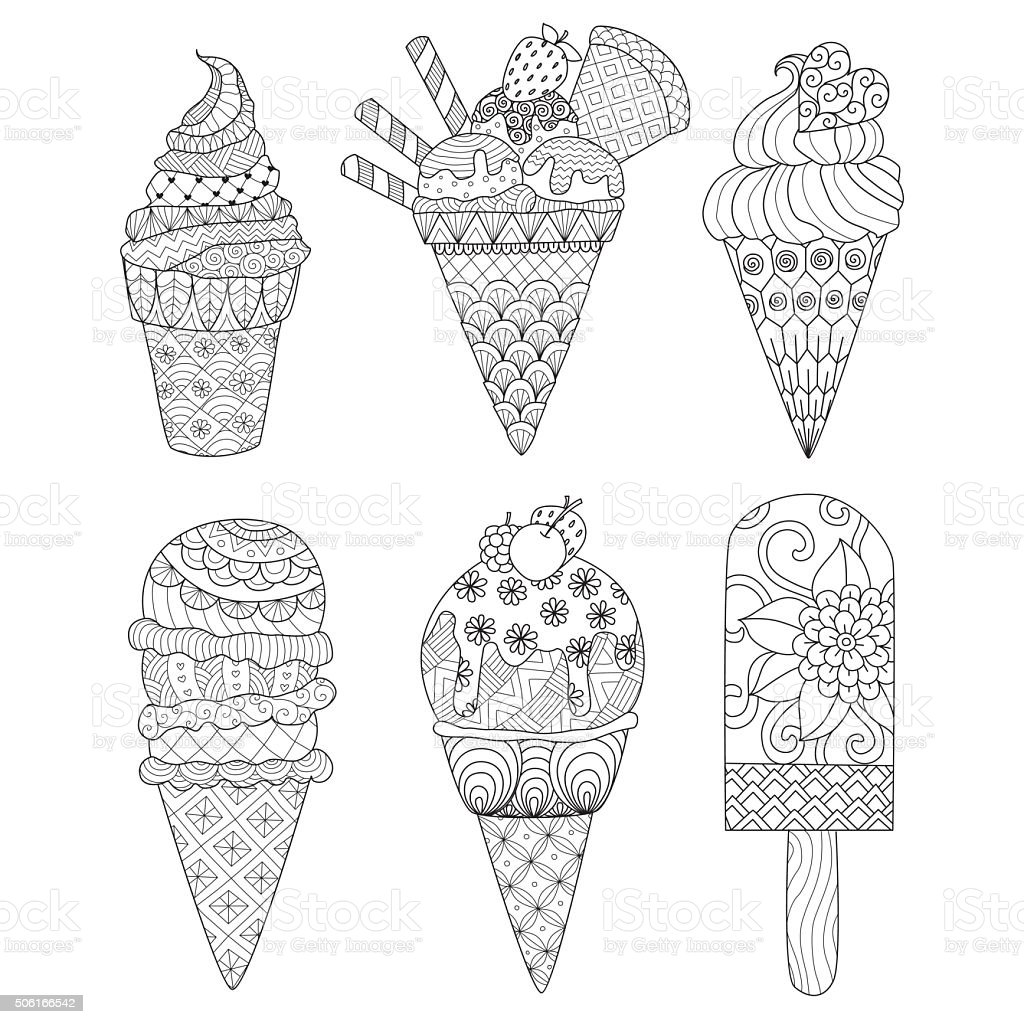 ice cream coloring book vector art illustration