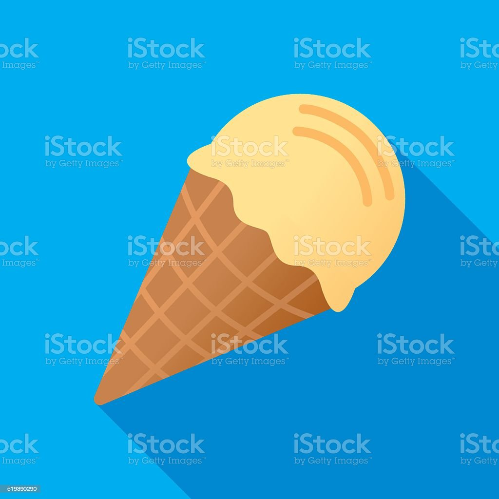 Ice Cream Cone Icon Flat vector art illustration
