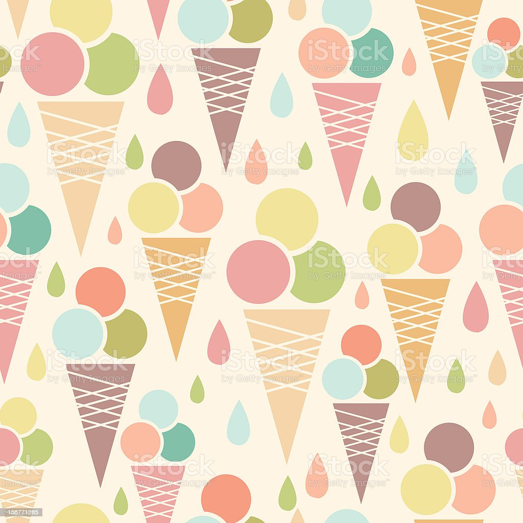 Ice cream cones seamless pattern royalty-free stock vector art