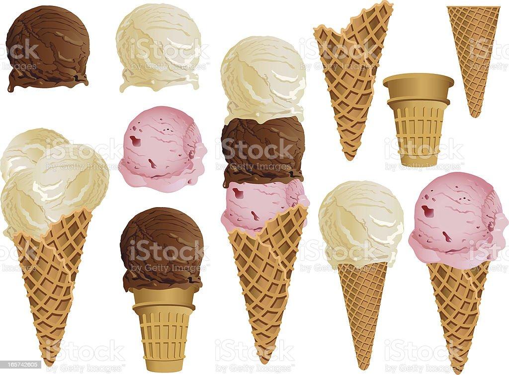 Ice Cream Cones vector art illustration