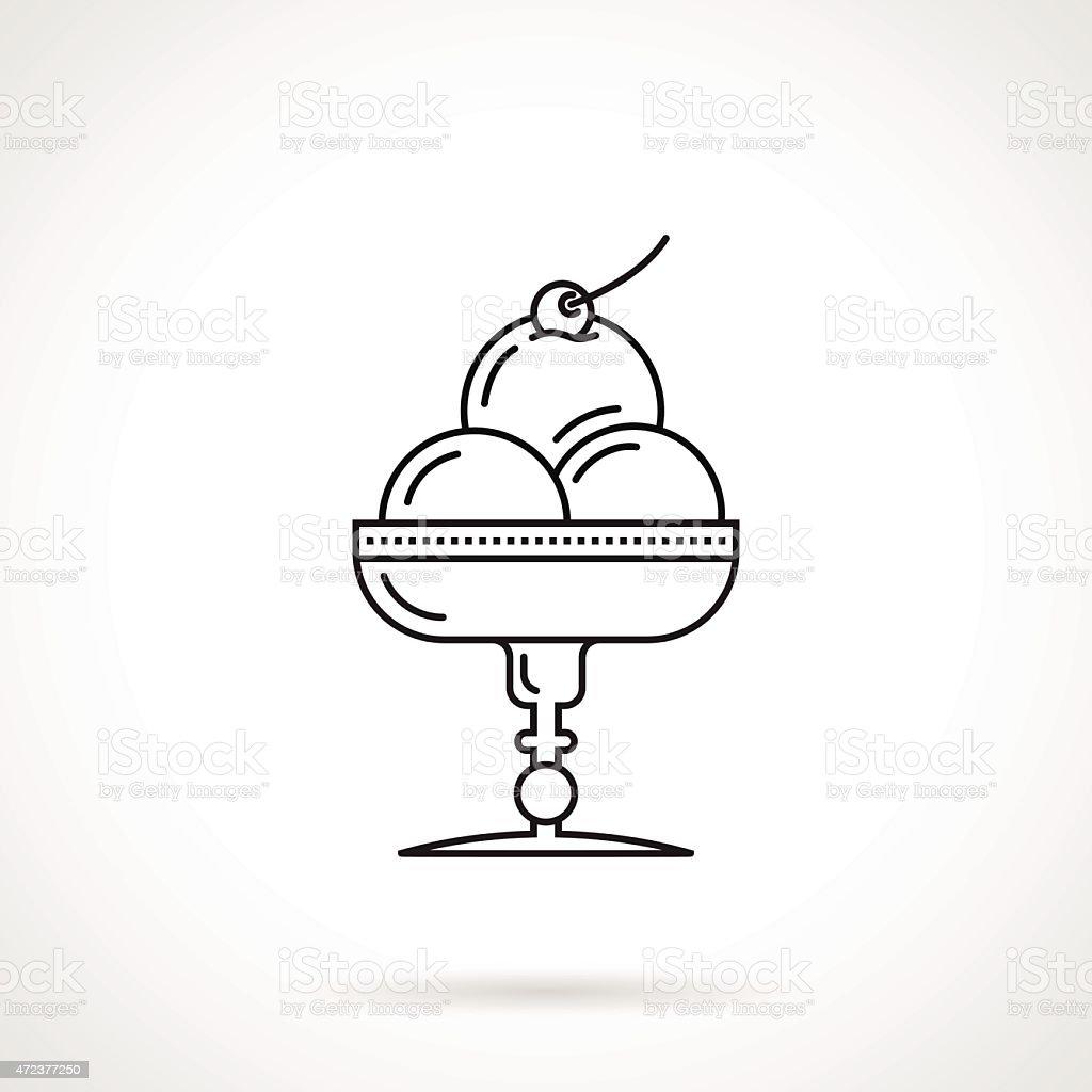Ice cream dessert black line vector icon vector art illustration