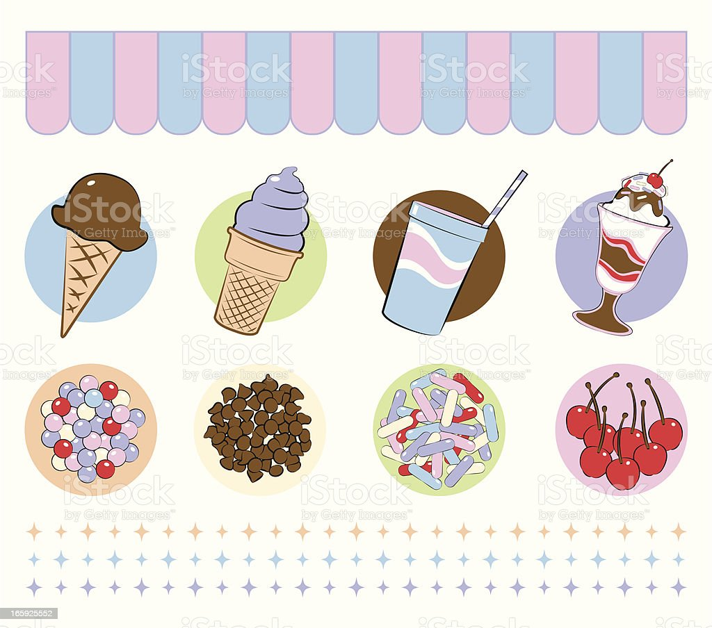 Ice Cream Desserts and Toppings vector art illustration