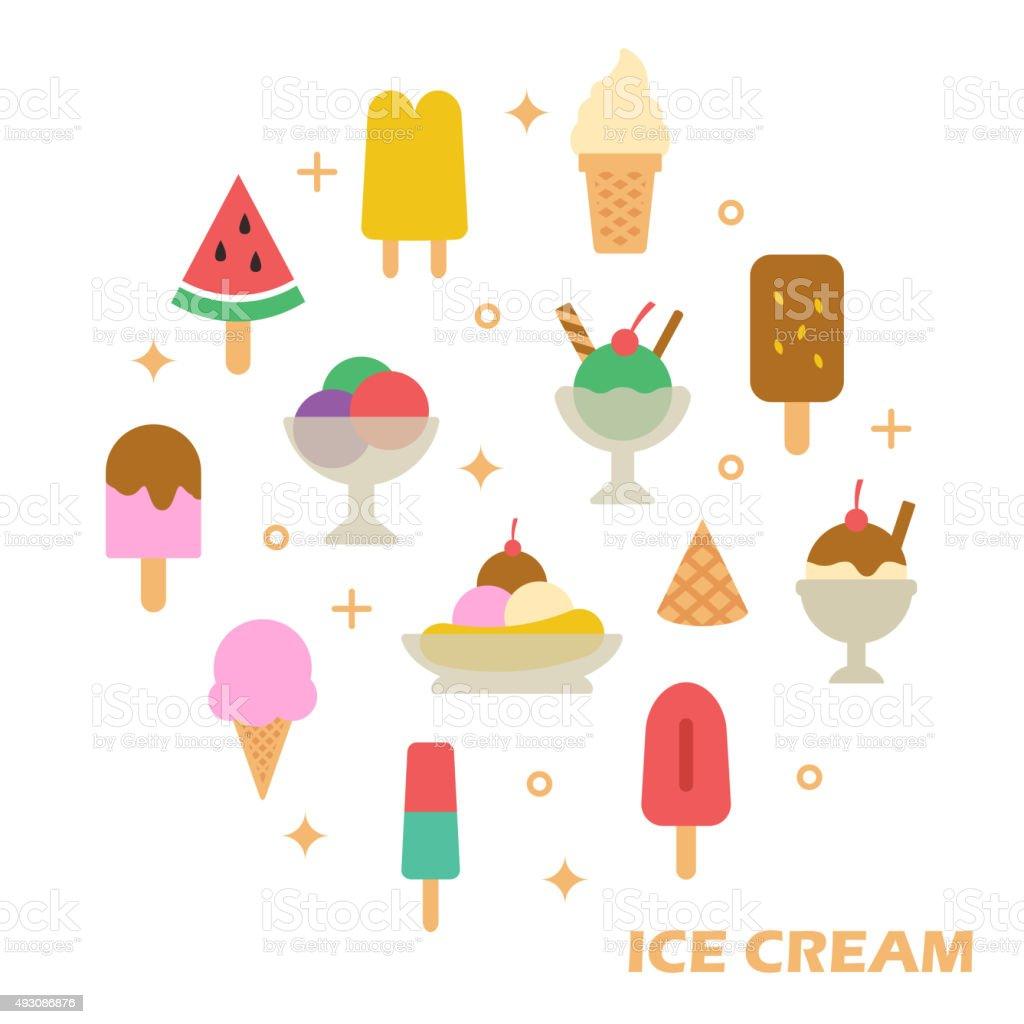 ice cream flat design vector art illustration