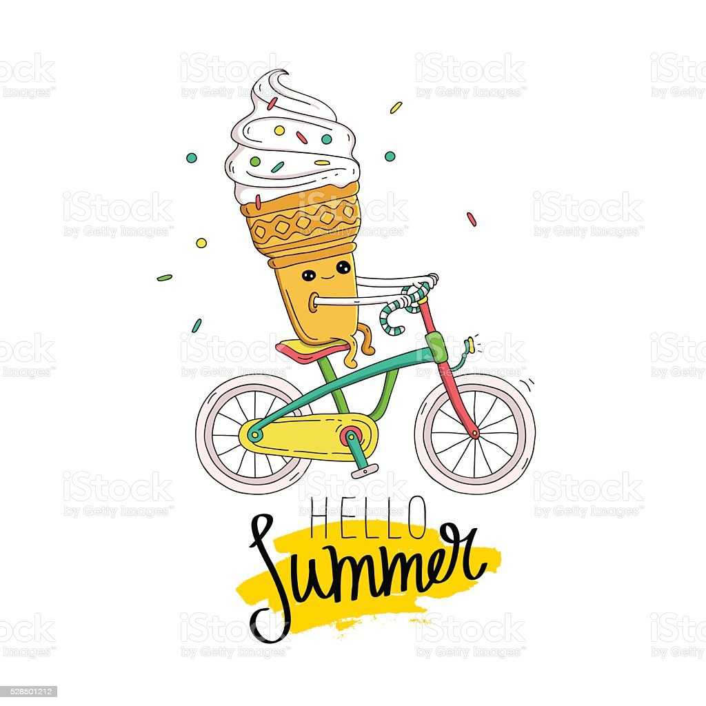 Ice cream in a waffle cup rides a bicycle. vector art illustration