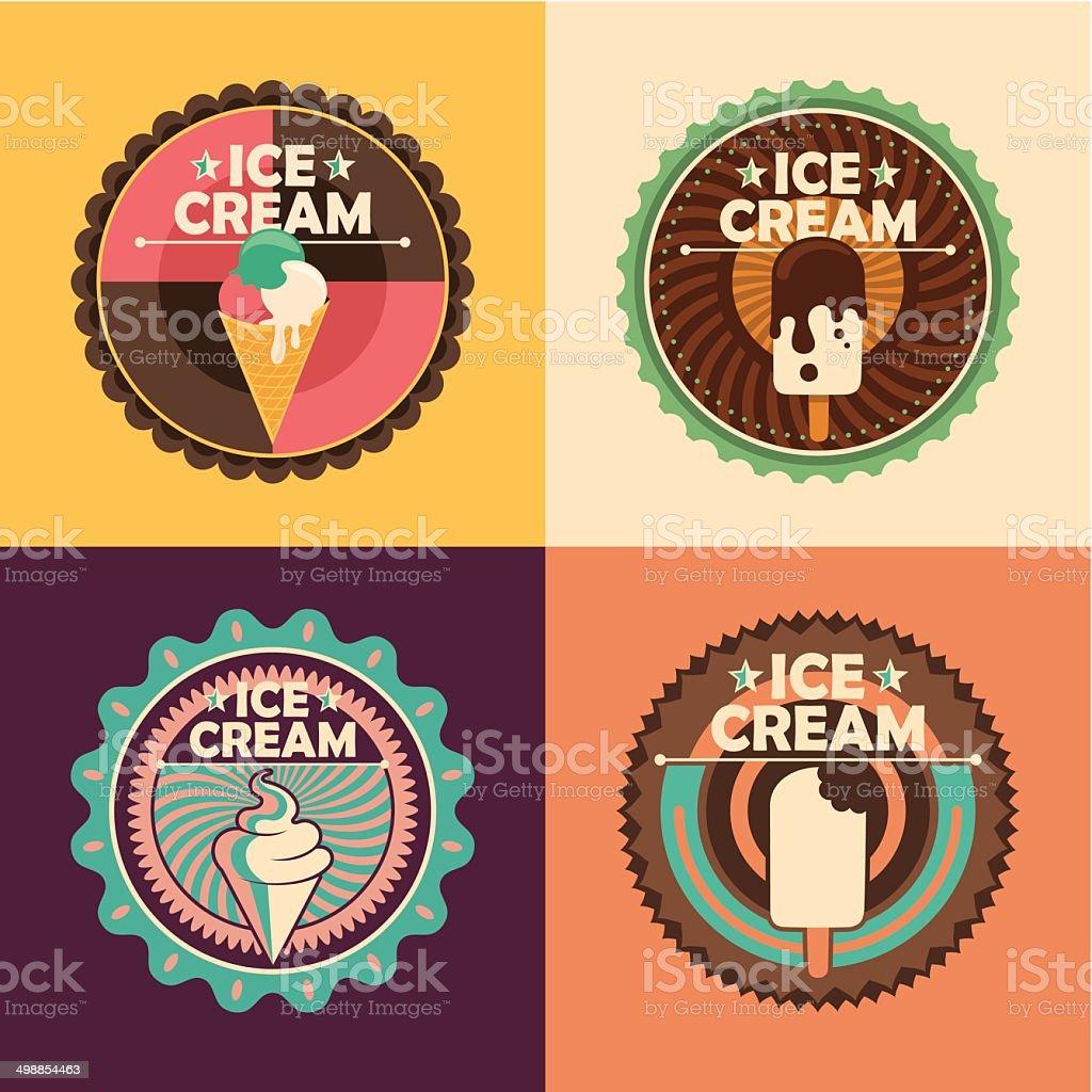 Ice cream labels. vector art illustration