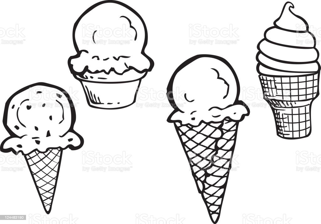 Ice Cream Line Art royalty-free stock vector art