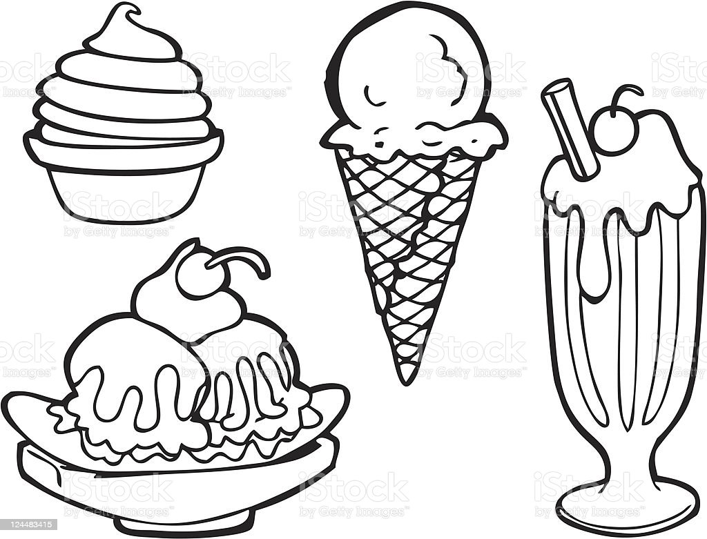 Yogurt Line Drawing : Ice cream line art stock vector istock