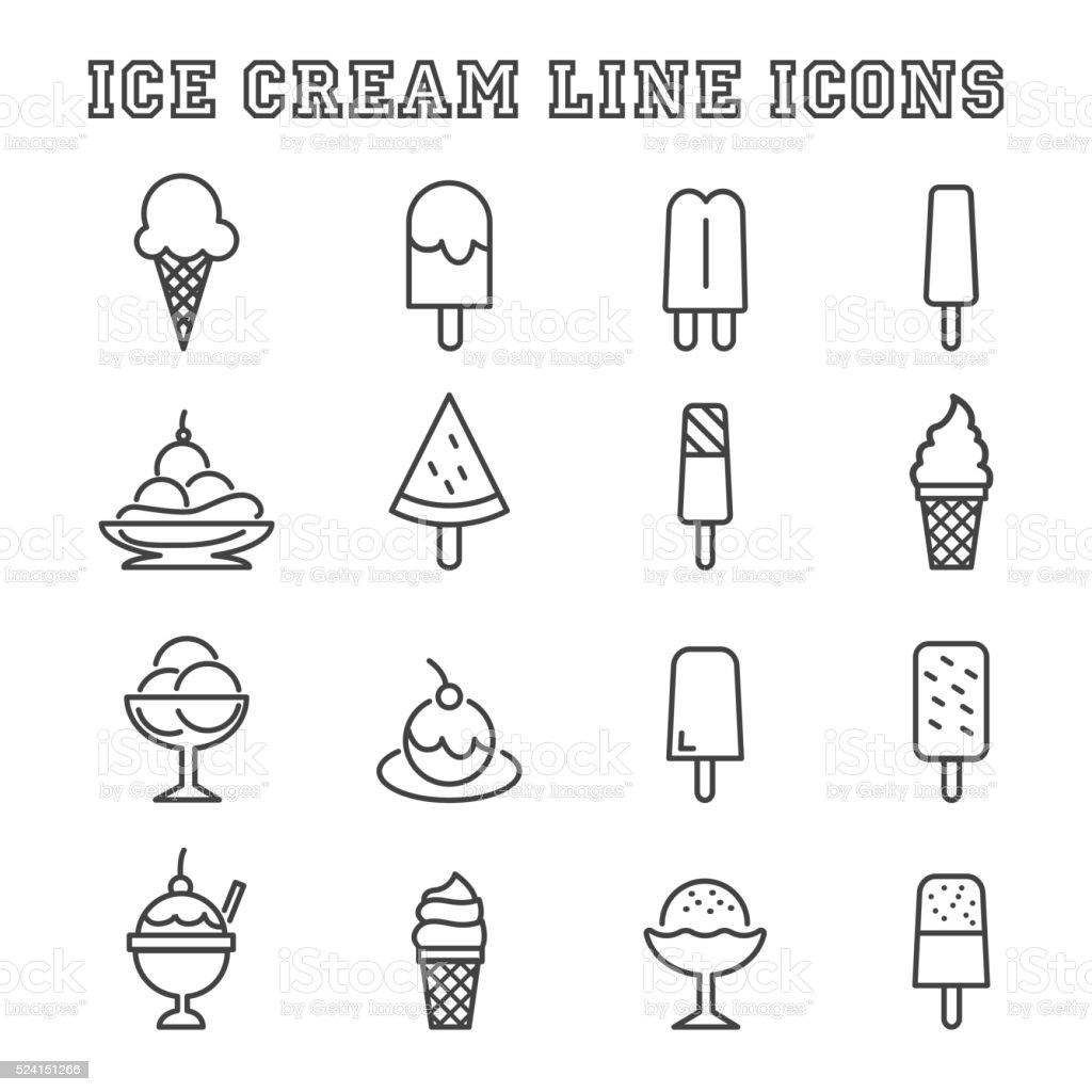 ice cream line icons vector art illustration